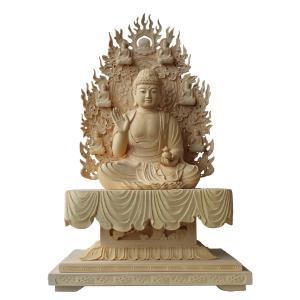 木彫仏像 薬師如来座像身丈8.0寸桧木四角台 眼入(受注生産)|tomoe3
