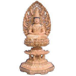 仏像 木彫り 大日如来座像 飛天後背八角台身丈4.5寸桧木切金(受注生産)|tomoe3