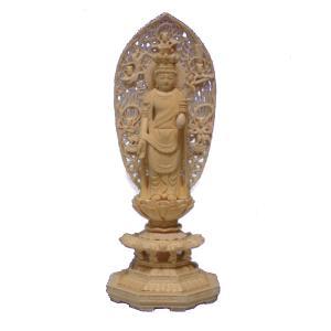 仏像 木彫り 十一面観音立像飛天光背八角台身丈1尺総高65cm桧木 (受注生産)|tomoe3