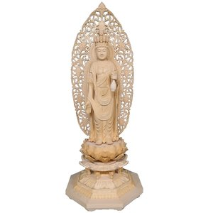 仏像 木彫り 十一面観音立像身丈1尺6寸総高102cm草光背八角台ヒバ材|tomoe3