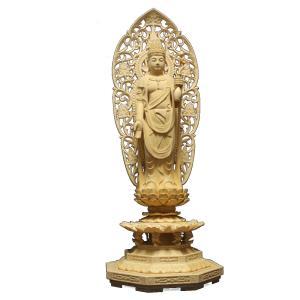 仏像 木彫り 聖観音菩薩立像草光背八角台身丈1尺総高66cm桧木(受注生産)|tomoe3
