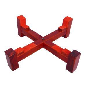長胴・桶胴太鼓台座 斜め平置き十字台(木目材)直径42cm(1.4尺)|tomoe3
