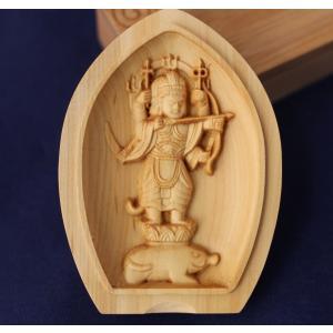 木彫仏像 懐中仏 摩利支天守護本尊  柘植 ツゲ