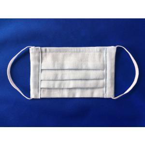 マスク 日本製 布 ガーゼ 肌に優しい給食 花粉症対策 手洗いOK 手作り水色 自社製造品|tomoe3