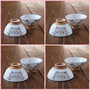 猫雑貨 猫柄 茶碗 水晶ねこ 美濃焼 選べる3サイズ 中・大・特大 2個セット|tomonyanshop2
