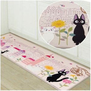 猫雑貨 黒猫ジジのロングマット 『花のまち』 魔女の宅急便 45*120|tomonyanshop2