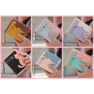 猫雑貨 猫柄 パステルカラー レディース 二つ折り財布 選べる6色|tomonyanshop2