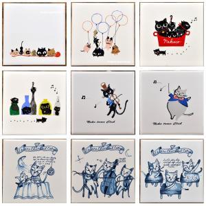 猫雑貨 猫柄 デザインタイル Shinzi Katoh シンジカトウ 選べる 3柄 DIY インテリア 3枚から購入可|tomonyanshop2