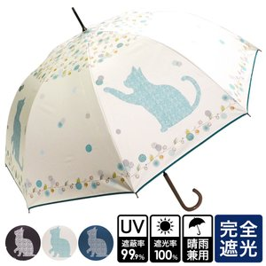 猫雑貨 晴雨兼用 ビッグ猫柄 UVカット ジャンプ傘 長傘 3色|tomonyanshop2