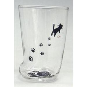 猫雑貨 猫のあしあとグラス 3個セット M|tomonyanshop2
