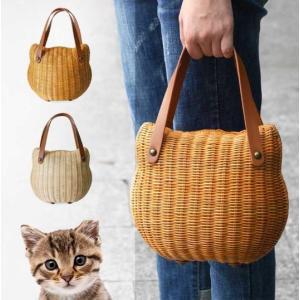 猫雑貨 ネコモチーフ 籐カゴ 籐バッグ ラタン  2色|tomonyanshop2