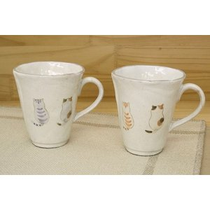 猫雑貨 フレンドキャットシリーズ かわいい猫柄 陶器のマグカップ|tomonyanshop2