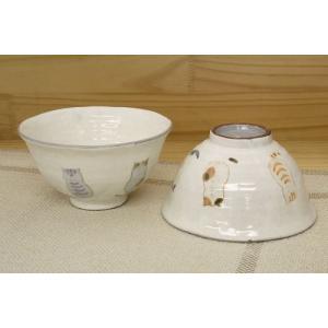 猫雑貨 フレンドキャットシリーズ かわいい猫柄 陶器のお茶碗|tomonyanshop2