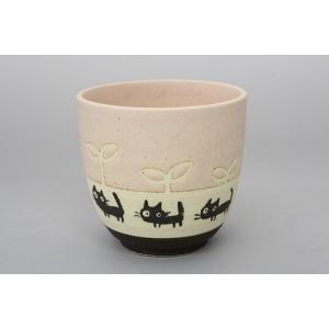 猫雑貨 黒ネコシリーズ パステルカラーの湯呑 3色 人気商品|tomonyanshop2