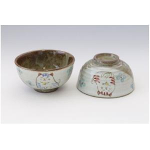 猫雑貨 花猫 和のテイスト 猫柄 陶器のお茶碗 選べる2色|tomonyanshop2