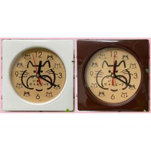 猫雑貨 木目調 Wall clock 掛時計 いまにゃんじ〜? レーザー彫刻文字入れ可 2色|tomonyanshop2