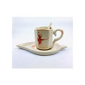 バッチャン焼き伝統柄赤トンボティーカップ&ソーサー&ティースプーンセット|tomotomoselectshop