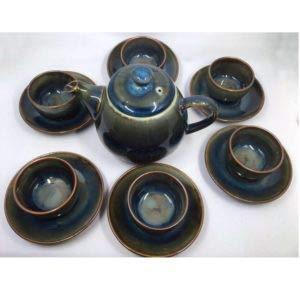 バッチャン焼き ブルーグリーングラデーション光沢 茶器セット|tomotomoselectshop