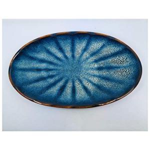 バッチャン焼き 楕円型ブルーグラデーション皿|tomotomoselectshop
