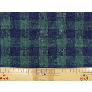 綿麻先染め チェック柄(1.2cm角) 緑×紺|tomoya