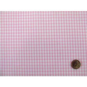 現品限り 90cm巾 ギンガムチェック 先染めブロード生地 (ピンク)ラミネート つや消し|tomoya