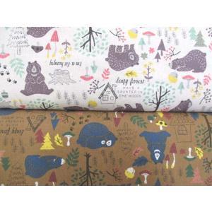 綿麻キャンバス くまの親子と森|tomoya