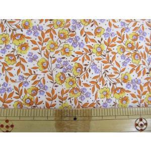 【値下げしました!】綿ローン生地 スモールフラワー オレンジの小花柄 [§]|tomoya