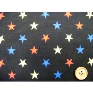 星柄 3色の星 オックス生地 (黒地)|tomoya