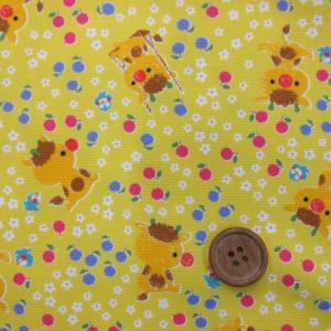 ながのまみさんデザイン 「モフポフmofpof」動物・お花柄 (黄色) オックス生地|tomoya