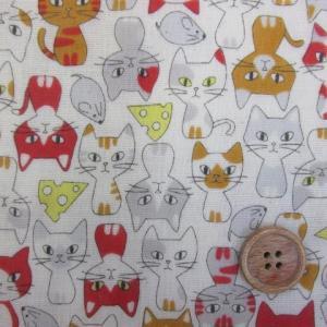 Wガーゼ  猫とネズミとチーズ柄