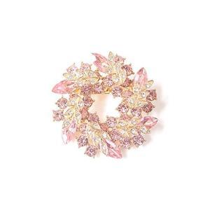 ノーブランド品  ゴージャス リース型 ブローチ プレゼント ギフトに最適 花 ブローチ (ピンク)|tomutomu