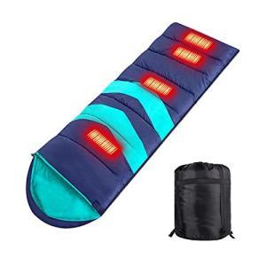 2021 寝袋 USB充電加熱寝袋 ポータブル 電気シュラフ 冬用 四季適用 4つヒーター 頭 腰 足 保温 軽量 防水 アウト tomutomu