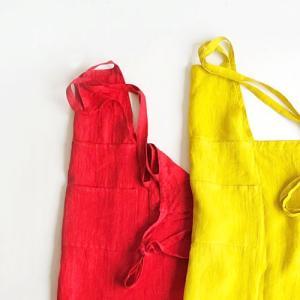 ビビッドカラー かわいい 100%リネン エプロン ピュアレッド(赤)&マスタードイエロー(黄色)/H100cm しっかり 厚手生地|tomy