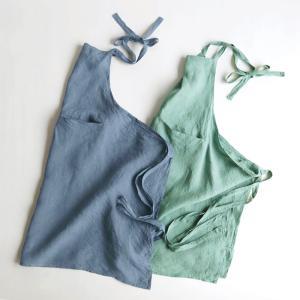 100%リネンエプロン シーグリーン(緑)&グレイッシュブルー(紺)/H90cm スリッパ|tomy