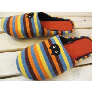 ATSUKO MATANO(またのあつこ) ルームシューズ 黒猫ボーダー オレンジ/Mサイズ(床に優しい消音底)|tomy