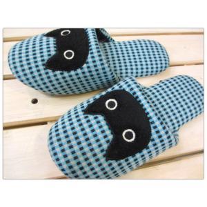 ATSUKO MATANO(またのあつこ) ウール混スリッパ 黒猫ギンガム ブルー/レディース(〜24cm程度まで) tomy