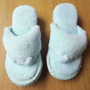 男性用 洗える足つぼ五本指スリッパ パイル地 ユビゴロー ブルー メンズ 5本指