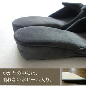 甲がリボン☆おしゃれなヒールスリッパ 浅履きミュールタイプ ベルベットリボン 日本製 黒(ブラック)/S・M・Lサイズ スリッパ|tomy|05