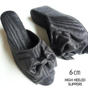 最高クラスのヒール高!/モアレリボン ヒールスリッパ ブラック ヒール7cm/レディースM・Lサイズ(高級木ヒール使用・日本製)|tomy