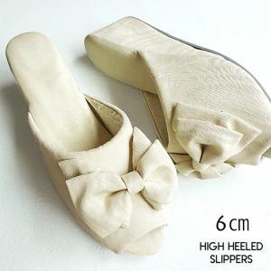 最高クラスのヒール高!/モアレリボン ヒールスリッパ アイボリー ヒール7cm/レディースM・Lサイズ(高級木ヒール使用・日本製)|tomy