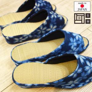 畳ござインソールのヒールスリッパ 藍染め桜 ブルー&ネイビー/S(〜22cm程度)・M(〜23.5cm程度)サイズ|tomy