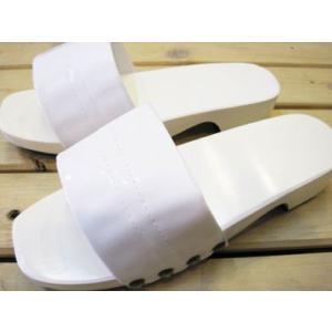 木製レトロカラー下駄 日本製 ホワイト/Lサイズ(〜26.5cm)【防水加工!ベランダやお散歩・業務用に。M・Lサイズあり】|tomy