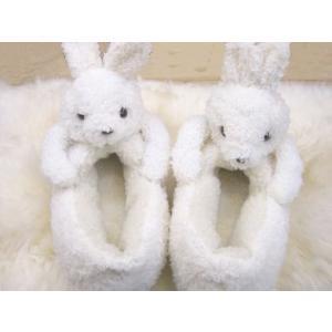 ぬいぐるみルームシューズ White Rabbit(白いうさぎ)/レディース&キッズサイズ【もこもこキュートなあったかスリッパ】|tomy