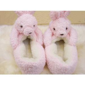 ぬいぐるみルームシューズ Pink Rabbit(ピンクのうさぎ)/レディース&キッズサイズ【もこもこキュートなあったかスリッパ】|tomy