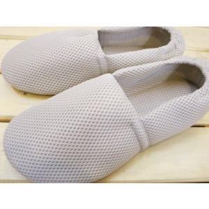 【締めつけ感ゼロ!】靴下感覚のふんわりルームシューズ メッシュタイプ グレー/S〜3Lサイズ スリッパ|tomy