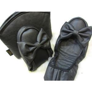 携帯スリッパ Leather Ribbon(レザーリボン) バレエ(浅履き)タイプ ソフトブラック/M〜LLサイズ|tomy