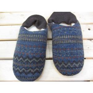 バブーシュタイプのルームシューズ Knitty(ニッティ) フェアアイル ネイビー/レディース&メンズサイズ スリッパ|tomy