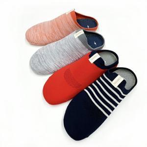 靴下 スリッパ 軽量 ルームソックス オールシーズン 高反発インナーソール オレンジレッド&グレー レディース メンズ 洗える スリッパ|tomy