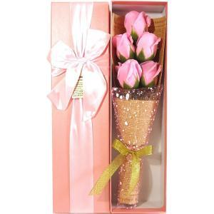 ソープフラワー 花束 バラ 造花 インテリア 誕生日 お祝い プレゼント ギフト ボックスセット ピンク 5本