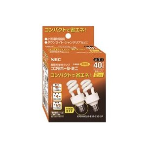 NEC EFD10EL7E17C3C2P ●電球形蛍光ランプ (コスモボール・ミニ) D形 ミニクリプトン電球40W相当タイプ ■電球色 ■2個パック|tonerlp